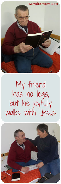 loves Jesus, Romania, homeless elderly, double amputee, Elder Orphan Care, Bible