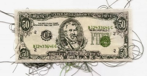 """Currency- $50"" embroidery art by Lauren DiCioccio"
