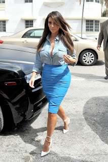 Kim Kardashian denim shirt cleavage