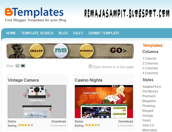 Situs tempat download template blog remaja sampit for Blogger templates free download 2012