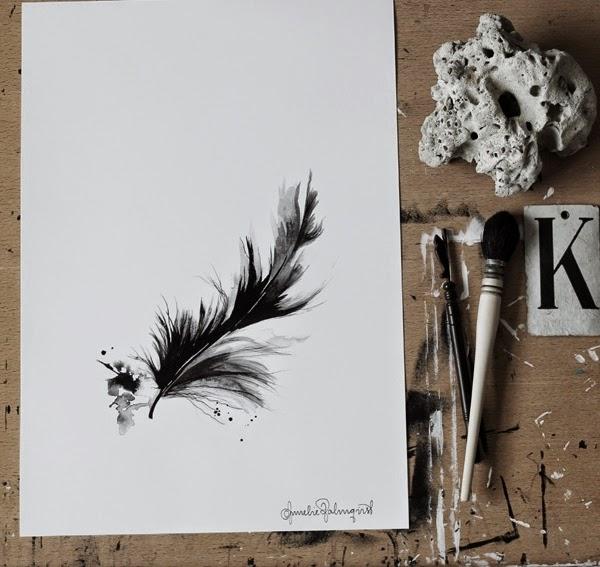 ateljé, arbetsrum, tavlor, tavla, konstr, fjäder, fjädrar, svarta och vita tavlor, svartvitt, svartvita tryck, poster, posters, artprint, artprints, vykort, julklapp, present,
