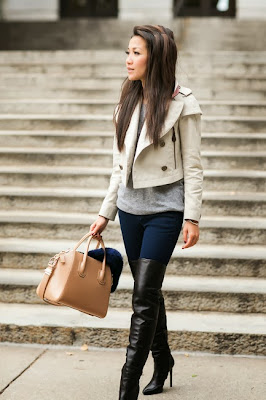 Beautiful cream coat with denim and over the knee boots