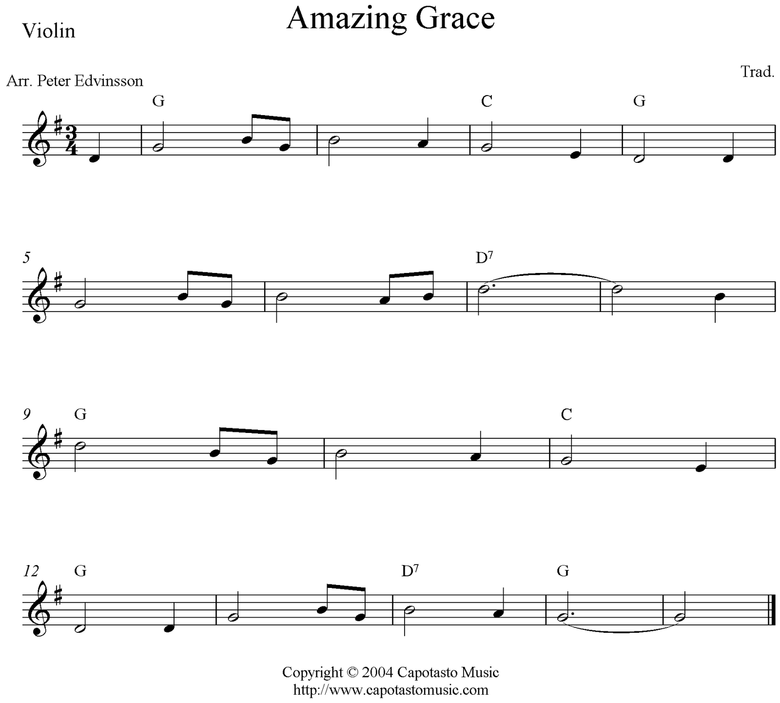 Amazing Grace, free violin sheet music notes