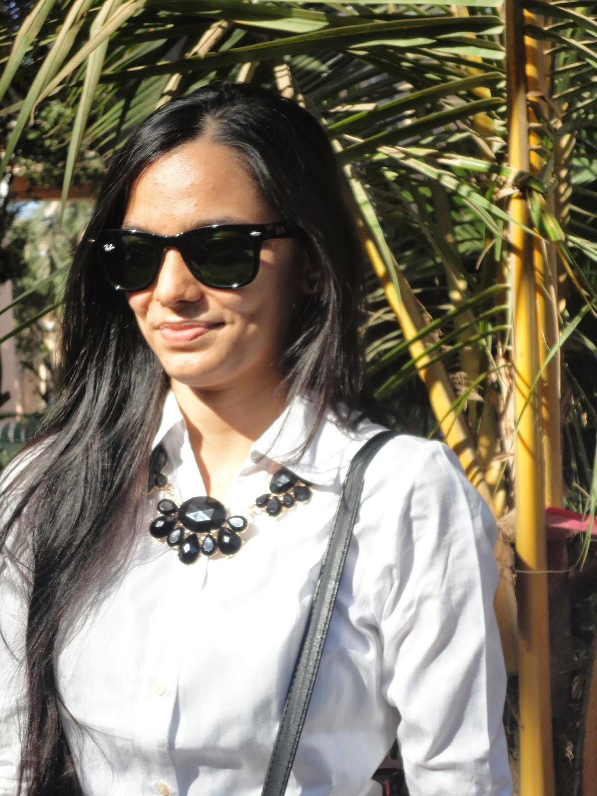 sunglasses, folding ray bans, wayfareres, workwear, satchel bag, pinstripes, statement jewellery, everyday mumbai street style