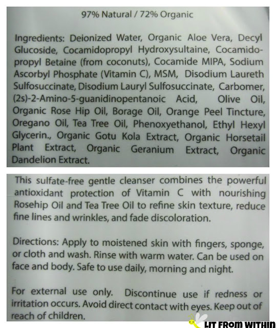 Amara Organics Vitamin C Cleanser ingredients