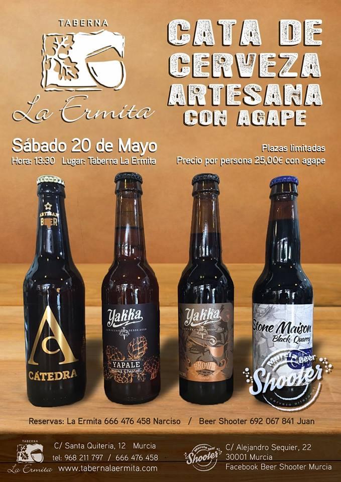 Cata de cerveza artesana con ágape en Taberna La Ermita.