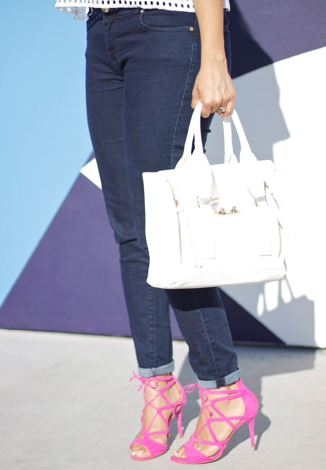 Justfab find, justfab hot pink lace up heels, hot pink lace up heels, how to wear pink shoes, 3.1 phillip lim white pashli