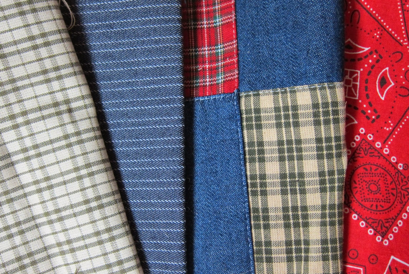 plaid and blue jean fabric