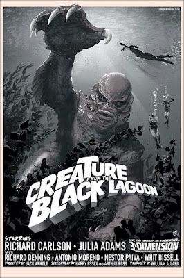 Creature from the Black Lagoon Black and White Variant Screen Print by Stan & Vince x Mondo