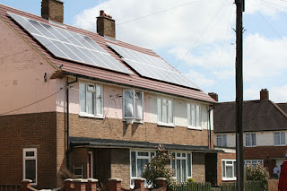 solar panels on a council house in London