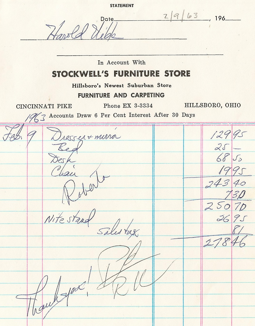 uibles a family blog 1963 furniture invoice feb 9