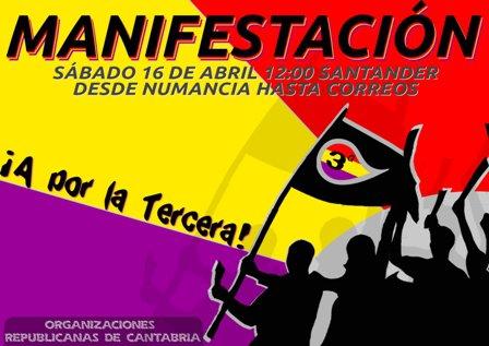 16 de Abril a las 11: Manifestación por la República, la Autodeterminación y el Ecosocialismo en Tenerife Cartel