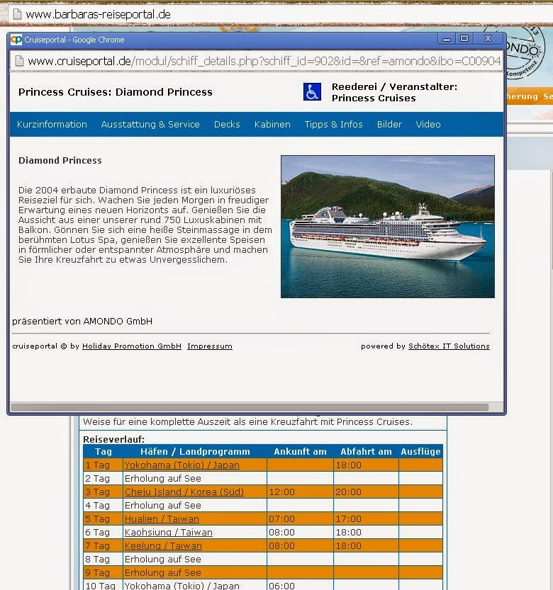 Direktbuchung Kreuzfahrt Princess Cruises Japan