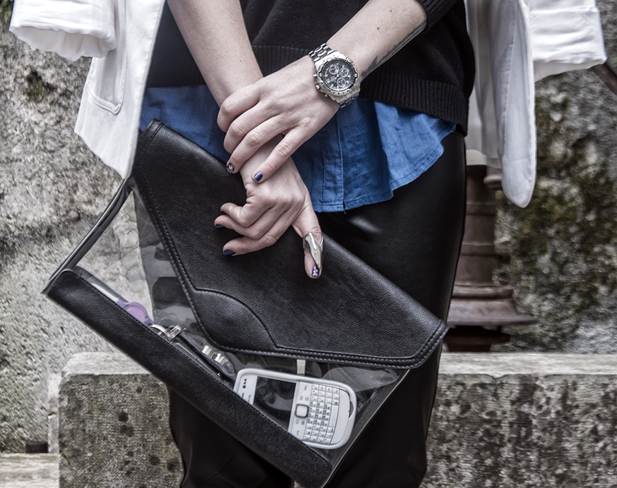 For Peet's Sake blog transparent Bershka clutch men's silver Festina watch blue shirt leather pants white blazer