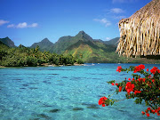 Most of the island's tourist destinations are centered around aquatic . (tranquil lagoon bora bora island french polynesia)