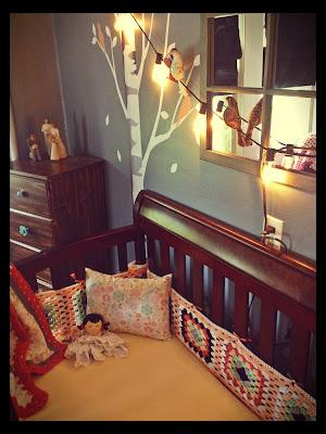 DIY, crochet bumpers, nursery, tree decals, bird theme nursery