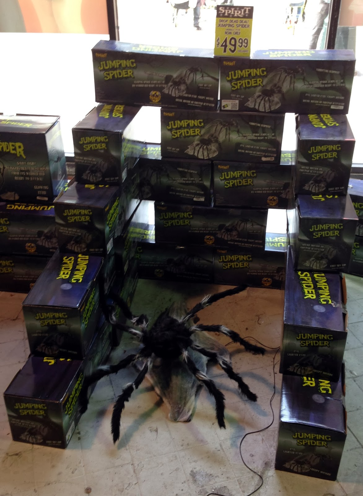 for just under 50 this enormous spider jumps up at you when one hits the pedal not shown for sure spirit halloween