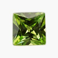princess cut apple green cz gems