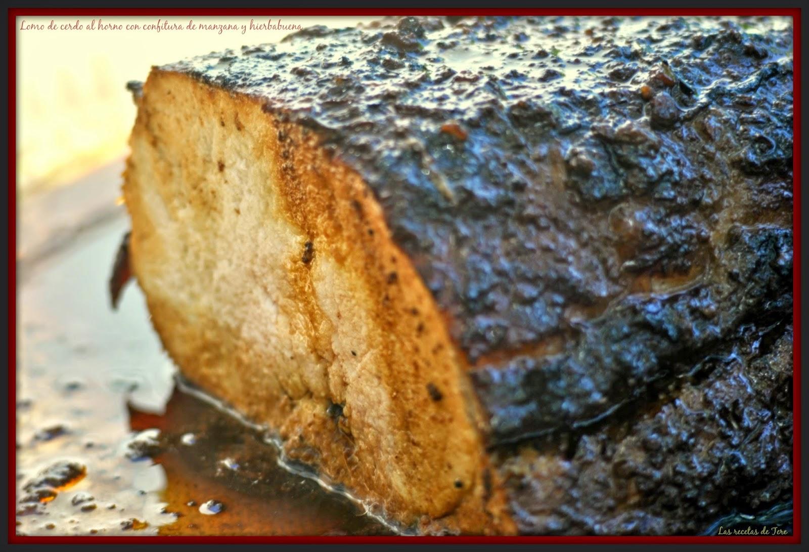 Lomo de cerdo al horno con confitura de manzana y hierbabuena 06