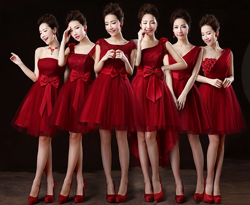 6-Design Glorious Wine Red Tutu Lace Midi Dress