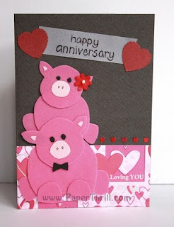 Piggy my love anniversary card