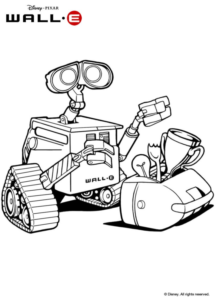 cute wall e coloring pages