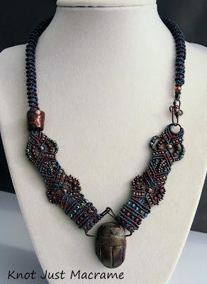 Raku scarab and micro macrame necklace by Sherri Stokey of Knot Just Macrame