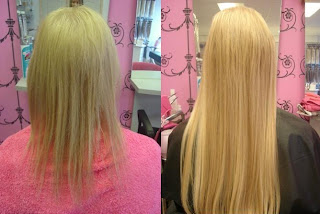 before and after 20 in. hair extension