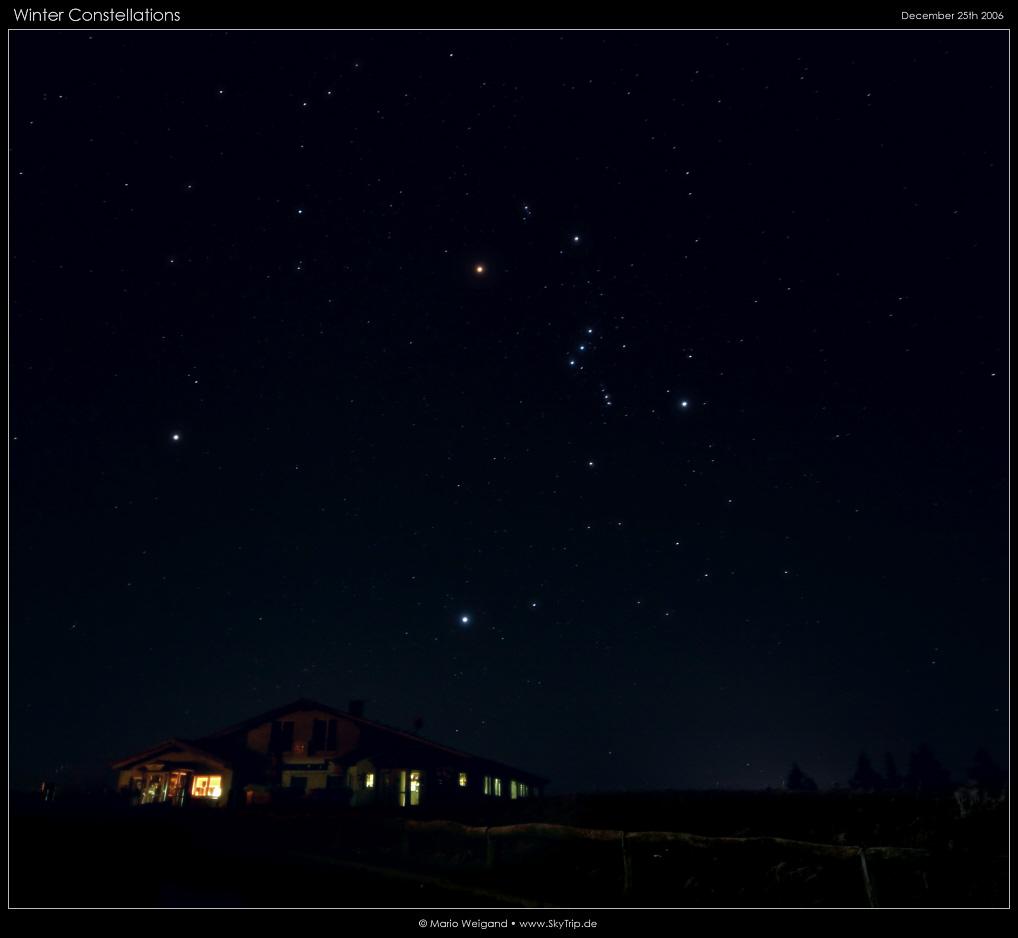 Chòm sao Orion cùng hai chòm sao Canis Major, Canis Minor. Tác giả : Mario Weigand.