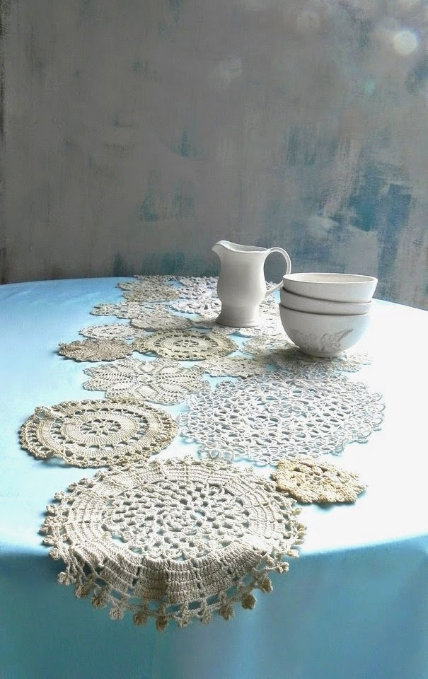 Sweet vintage doily table runner, by Summerland Cottage Studio, featured on ILoveThatJunk.com