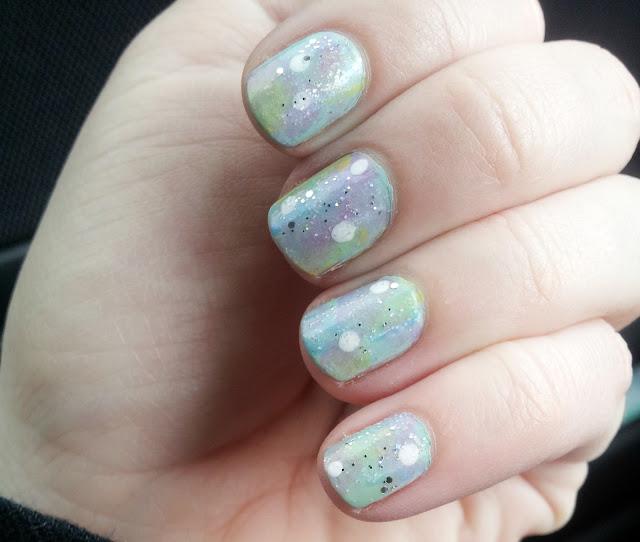 pastel galaxy nail art
