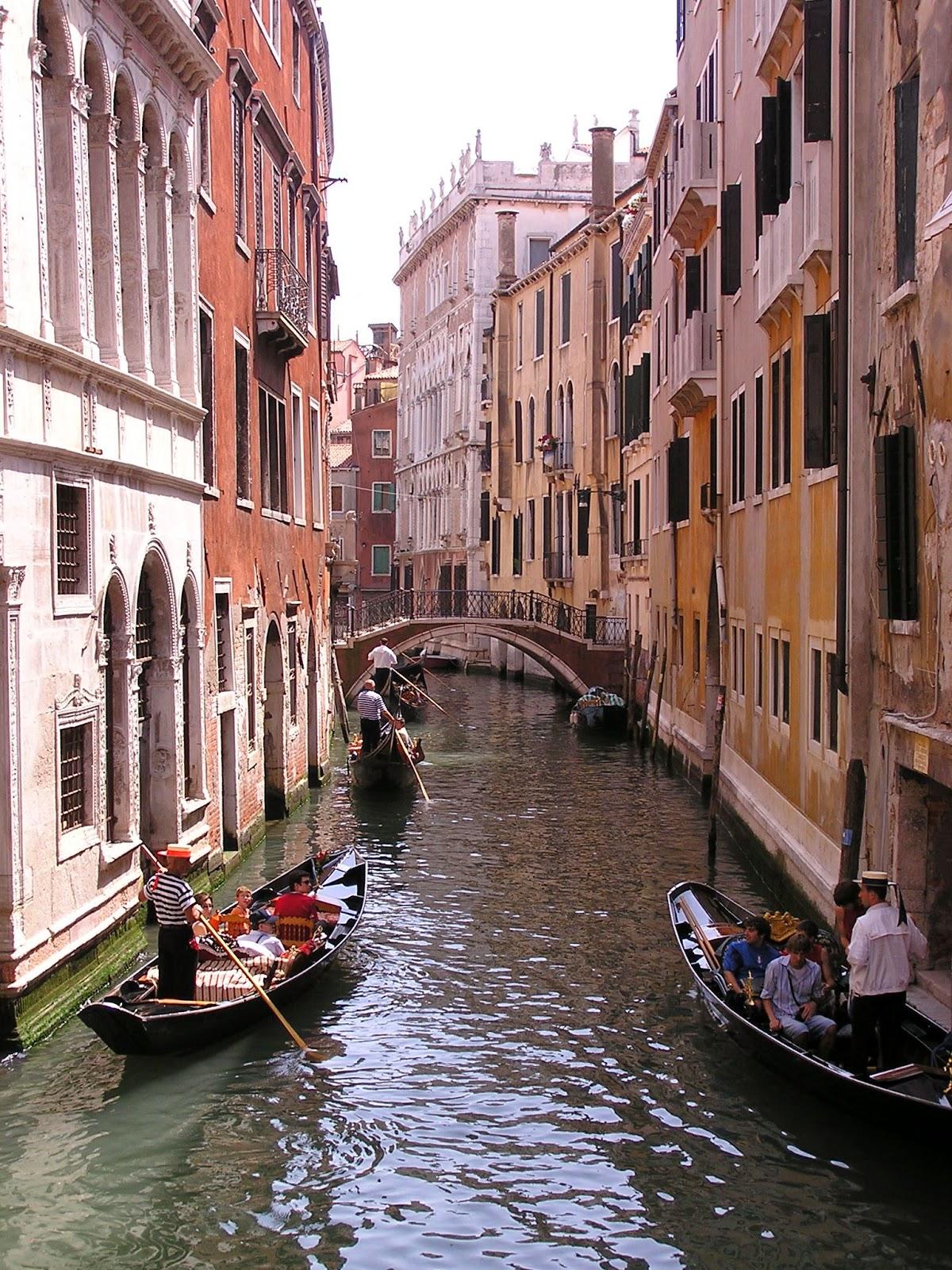 gondolas, canal, Venice, Italy