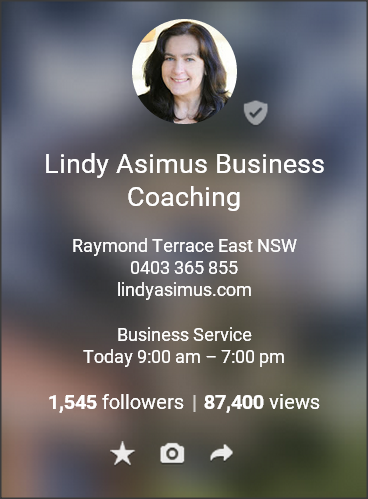 Lindy Asimus Business Coaching on Google My Business article on G+