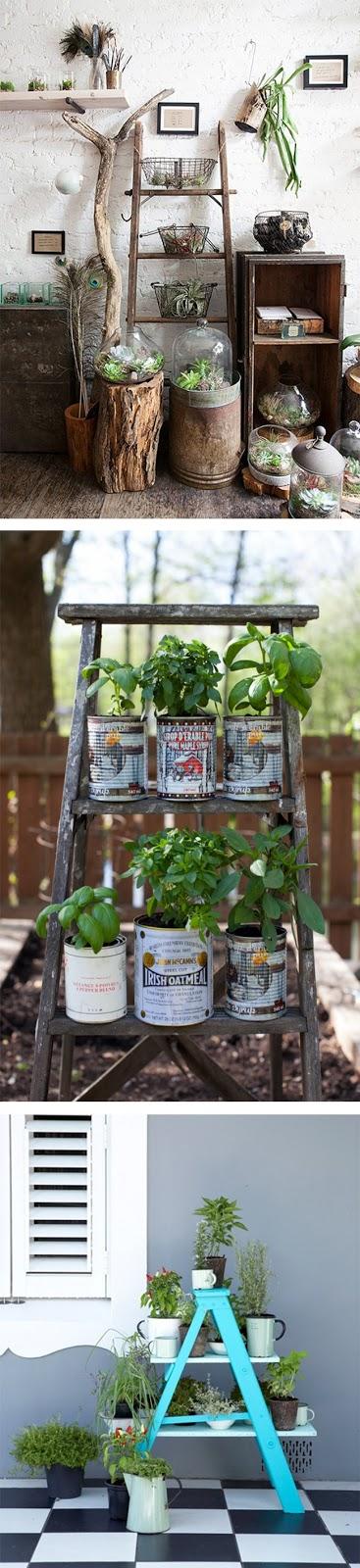 riuso scaletta legno porta vasi e piante
