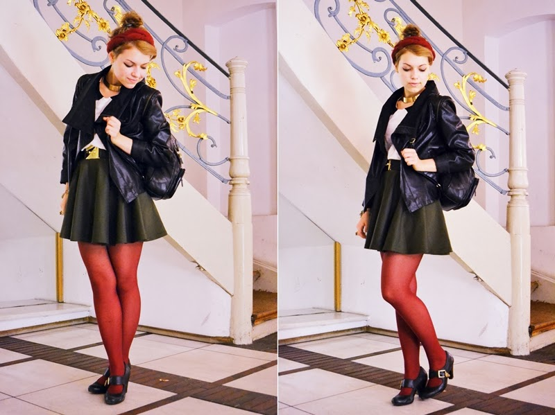 myberlinfashion girl jasmin me rock chic outfit outfitpost lederjacke stirnband