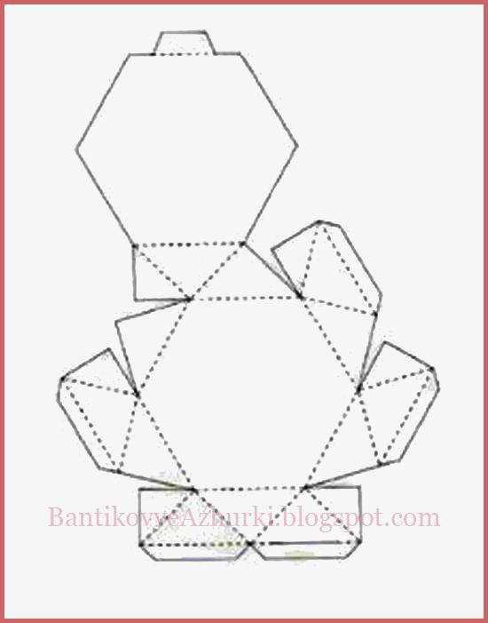 Схема плоской шестиугольной коробочки