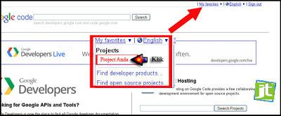 cara menyimpan file di google code, cara membuat akun di google code
