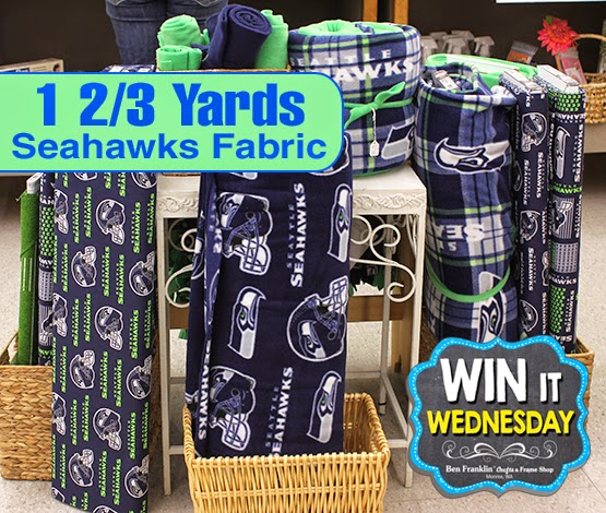 The winner will get 1 2/3 yards of Seahawks Fabric