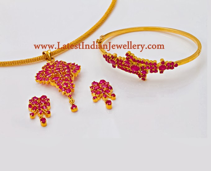 Ruby Pendant and Bracelet Set