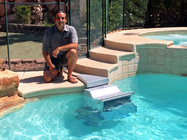 Triathlete Rod S. with the Endless Pools Fastlane installed in his backyard pool.