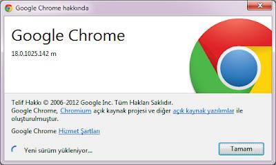 Google chrome 18 güncelleme işlemleri 1