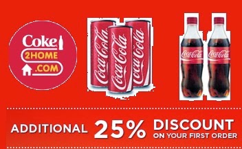Bangalore & Ahmedabad Customers: Upto 10% + Flat 25% Extra Discount on Coca Cola | Thumsup | Fanta | Limca | Sprite | Maza & more (Valid for First Time Order)