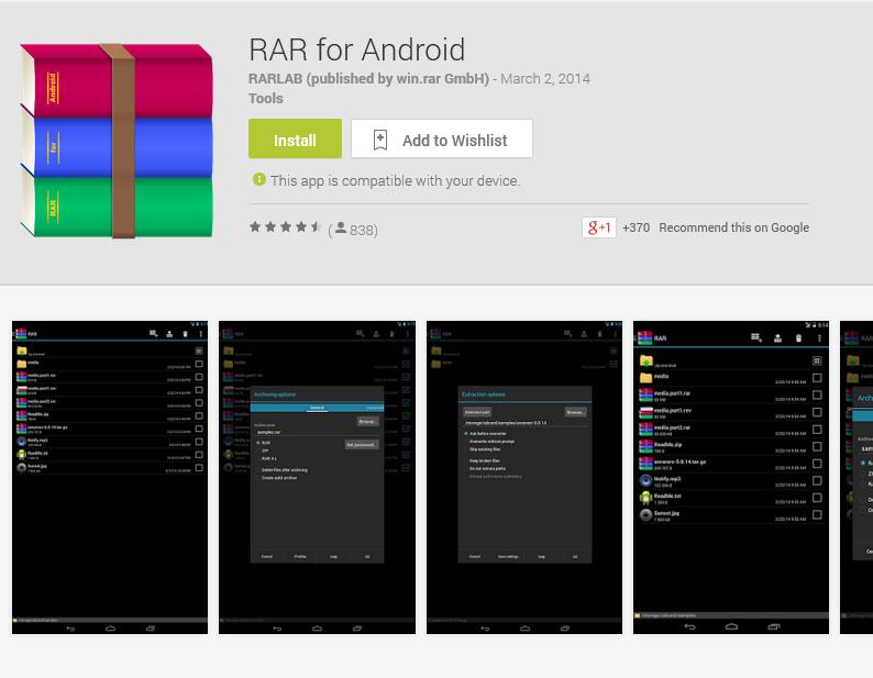 RAR for Android di Google Play