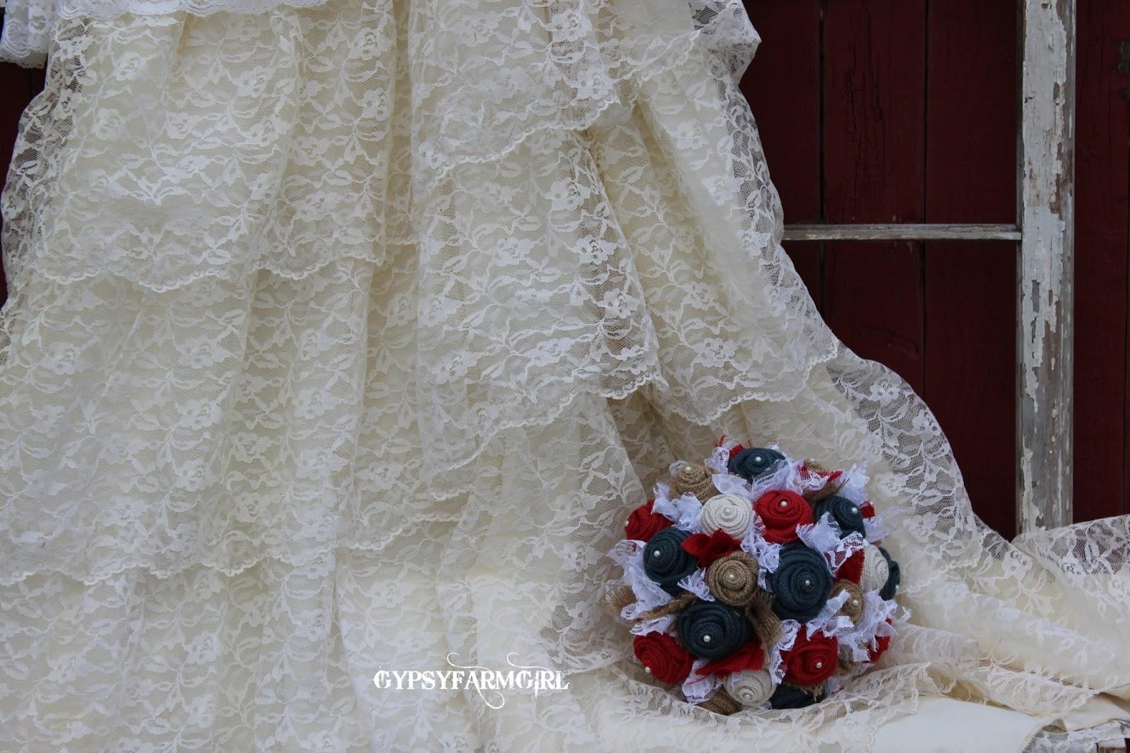 burlap and lace patriotic wedding bouquet