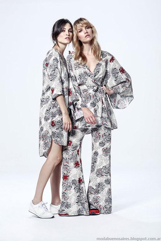 Moda otoño invierno 2015 mujer Argentina. Melocotón kimonos, blusas, vestidos, palazzos otoño invierno 2015.