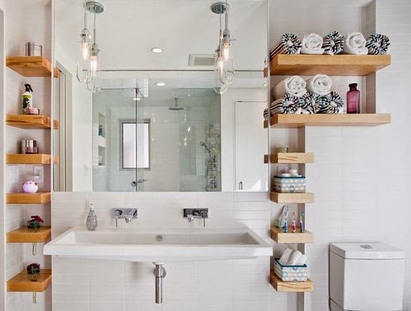 Estantes para organizar y decorar tu ba o decoraci n for Estante porta toallas para bano