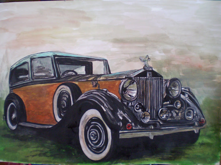 Rolls Royce old 1, watercolor, signed Joli, A4