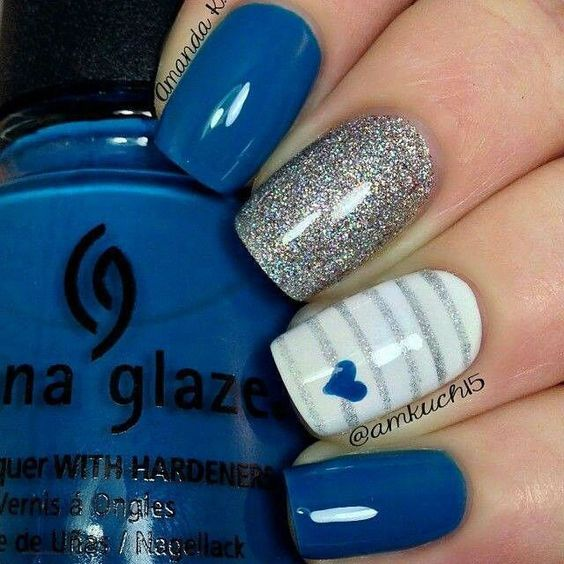 Stunning Wedding Nail Art In Blue Silver
