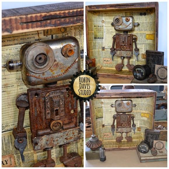 Robot Art Piece using vintage elements | Robin Davis Studio