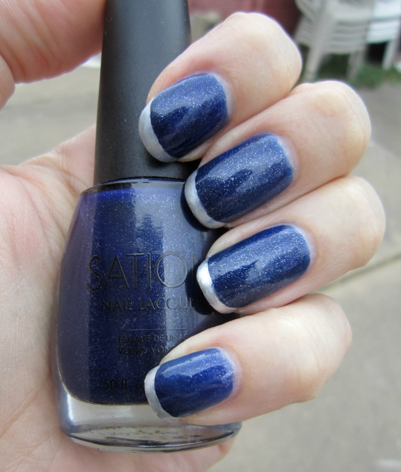 Nail Polish Tips: Concrete And Nail Polish: Metallic French Tips With Silver